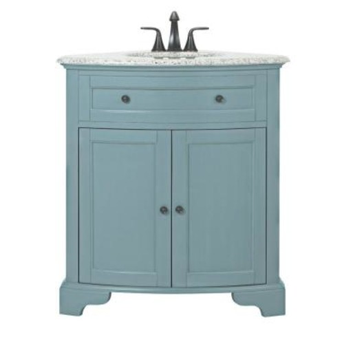 Home Decorators Collection Hamilton 31 in. W Corner Bath Vanity in Sea Glass with Granite Vanity Top in Grey and White Basin