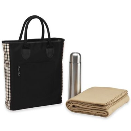 Picnic at Ascot Coffee Blanket Tote in Black/London Plaid