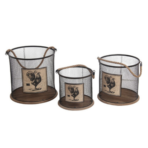 3 Piece Iron Basket Set