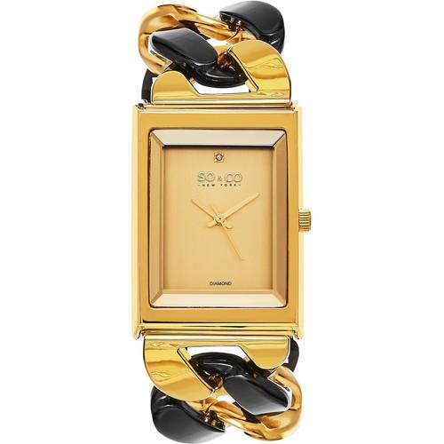 SO&CO New York Women's SoHo Quartz Diamond Link Bracelet Watch