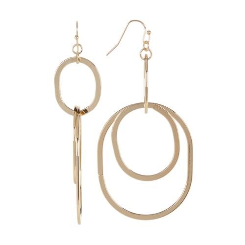 Double Drop Linked Hoop Earrings