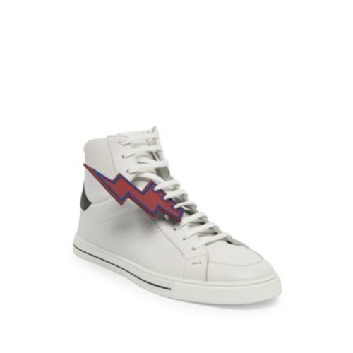 FENDI Bolt Faces Leather High-Top Sneakers