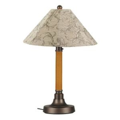 Patio Living Concepts Bahama Weave 34 in. Mocha Cream Outdoor Table Lamp with Bessemer Shade