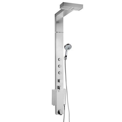 AKDY 59 in. 3-Jet Shower Panel System in Brushed Stainless Steel with Rainfall Shower Head Height Adjustment Hand Shower
