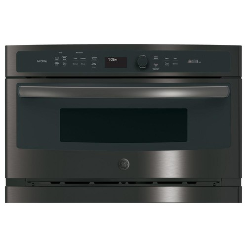 GE Profile 30 in. Single Electric Wall Oven with Advantium Technology in Black Stainless, Fingerprint Resistant