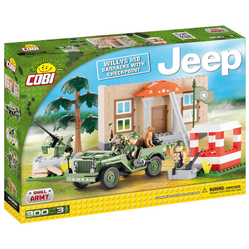 COBI Willys MB Barracks with Checkpoint Construction Blocks Building Kit