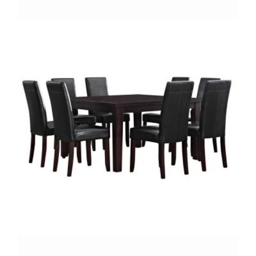 Simpli Home Acadian 9-Piece Midnight Black Dining Set