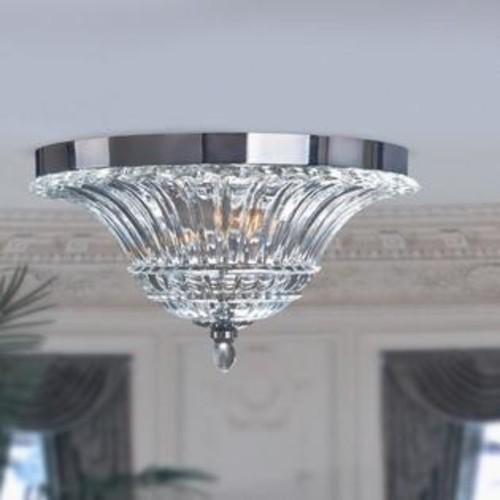 All the Rages Inc Elegant Designs 2-Light Glass Ceiling Light with Glacier Petal Flushmount