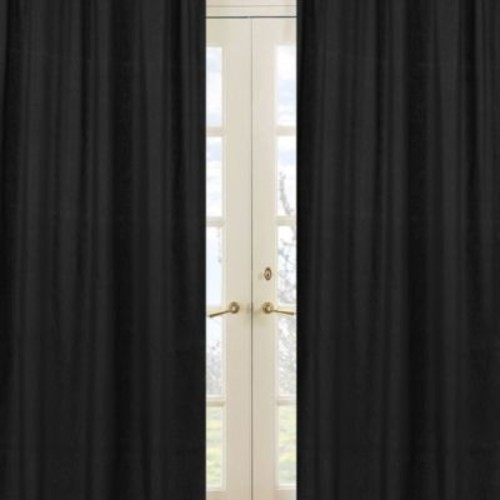 Sweet Jojo Designs Minky Dot Window Panel Pair in Black