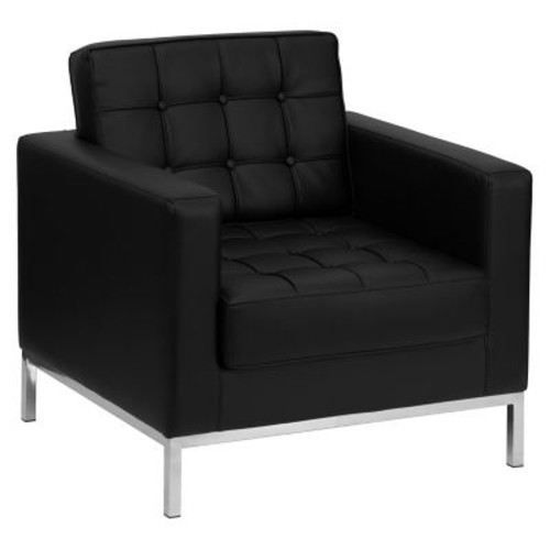 Flash Furniture ZB-LACEY-831-2-CHAIR-BK-GG Leather/Stainless Steel Club Chair, Black