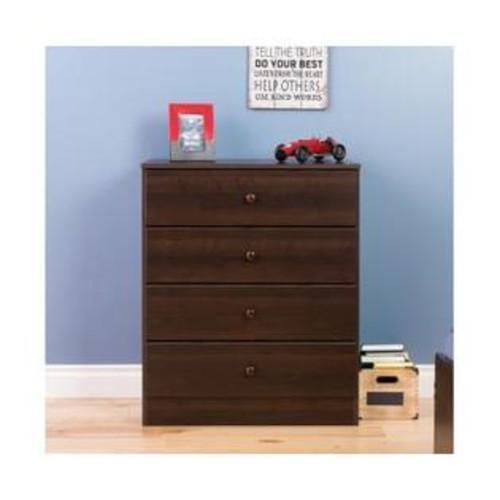 Prepac Astrid 4-Drawer Dresser Espresso EDBR-0401-1
