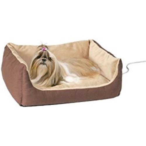 K&H Thermo-Pet Cuddle Cushion Heated Dog Bed in Mocha [Medium]