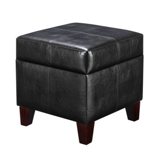 Small Cube Faux Leather Storage Ottoman - Black - Dorel Living