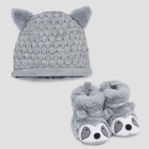 Baby Raccoon Hat & Bootie Set - Cloud Island Gray 0-6M