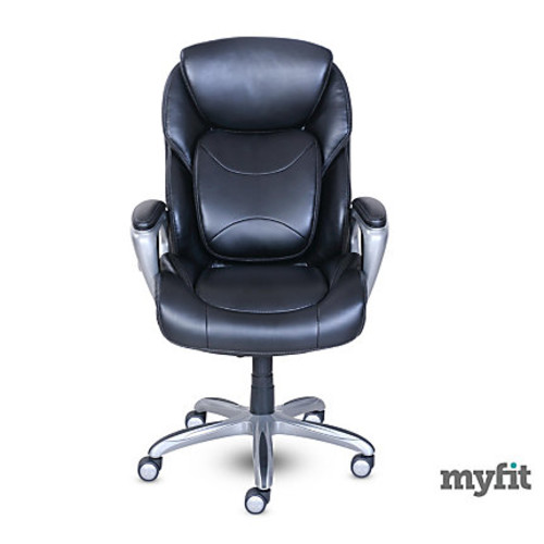 Serta My Fit Faux Leather High-Back Chair With 360 Motion Support, Black