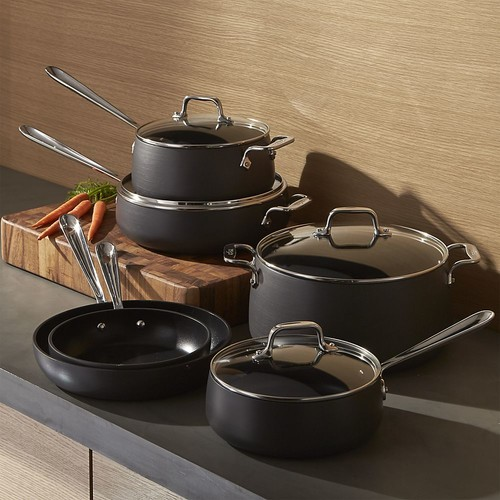 All-Clad  HA1 Hard-Anodized Non-Stick 10-Piece Cookware Set with Bonus
