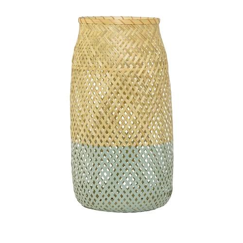 Blue Accent Woven Bamboo Lantern