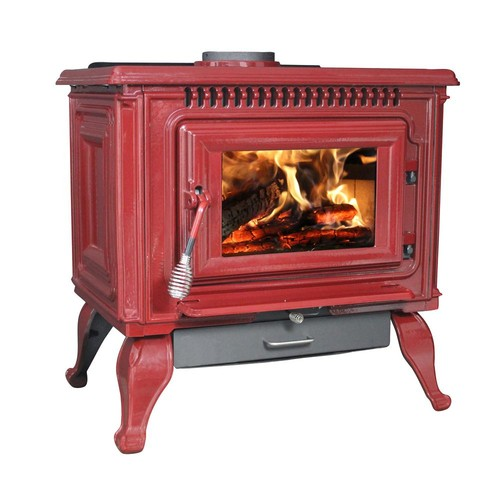 Ashley Hearth Products 2,000 Sq. Ft. EPA Certified Red Enameled Porcelain Cast Iron Wood stove with Blower