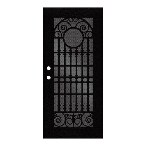Unique Home Designs 36 in. x 80 in. Spaniard Black Right-Hand Surface Mount Aluminum Security Door with Black Perforated Metal Screen