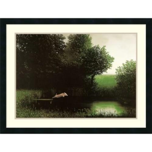 Amanti Art Diving Pig 26-Inch x 34-Inch Framed Wall Art