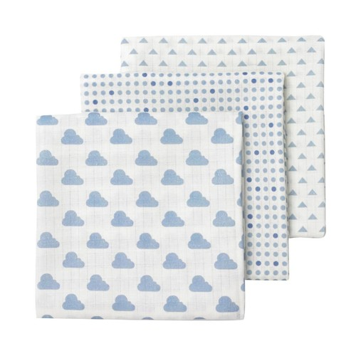 Giggle Blue and White Prints 3 Pack Muslin Swaddle Blankets