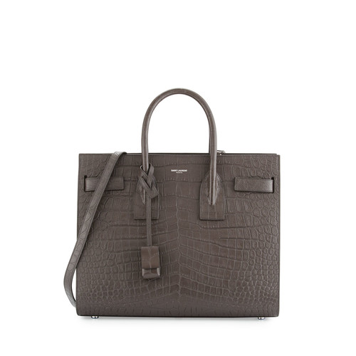 SAINT LAURENT Sac De Jour Small Crocodile-Embossed Satchel Bag, Dark Gray