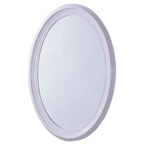 Bellaterra Home Pendleton 21 in. x 31 in. Oval Single Framed Wall Mount Mirror in White