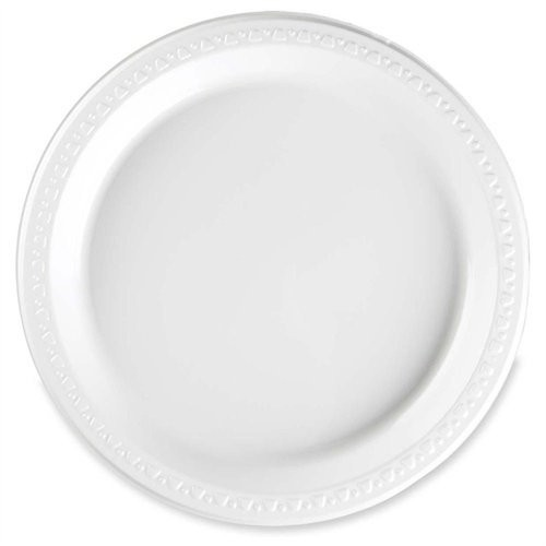 Tablemate 9644WH Plastic Dinnerware, Plates, 9