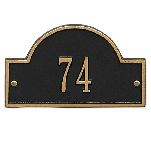 Whitehall Products Petite One-Line Arch Marker Address Plaque in Black/G