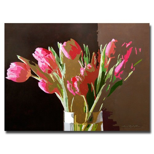 Trademark Global David Lloyd Glover 'Pink Tulips in Glass' Canvas Art [Overall Dimensions : 18x24]