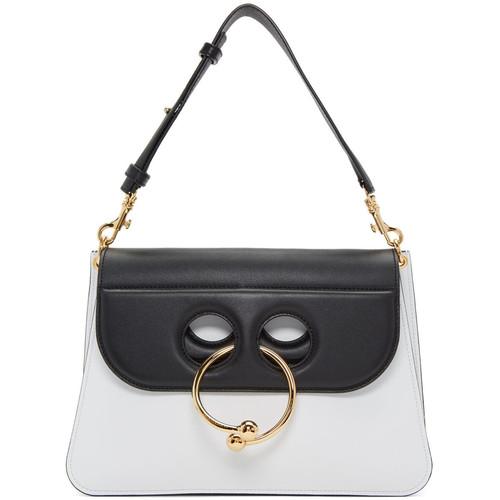 White & Black Medium Pierce Bag