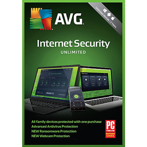 Avast AVG Internet Security 2018, Unlimited, For PC/Mac, Product Key Card