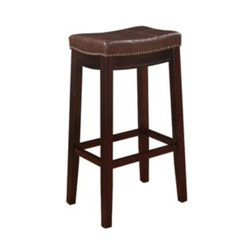 Linon Home Decor 55816BRNPU-01-KD-U Claridge Patches Brown Bar Stool