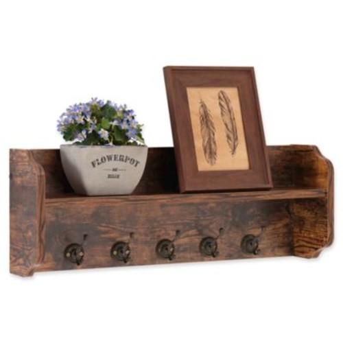 Danya B Wood Utility Wall Shelf with Hooks in Aged Pine