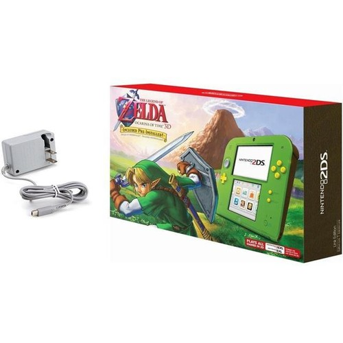 Nintendo 2DS The Legend of Zelda Ocarina of Time 3D Link Edition Bundle with Tomee Worldwide AC Adapter for Nintendo DS Systems