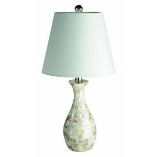 Elegant Designs Malibu 22.5 in. Trendy Seashell Tiled Mosaic Look Curved Table Lamp with Chrome Accents