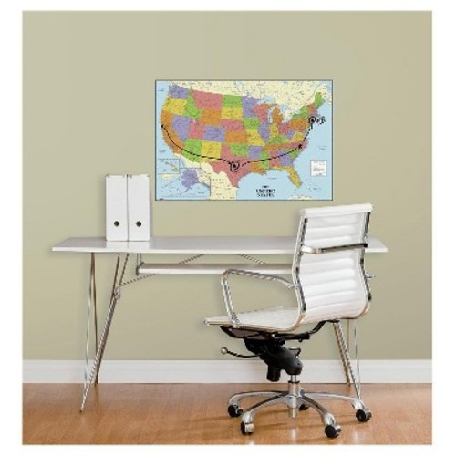 RoomMates USA Map Dry Erase Peel and Stick Giant Wall Decals