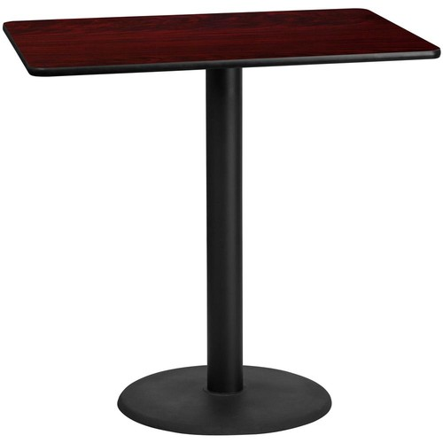 Flash Furniture 30 in. x 48 in. Rectangular Black and Mahogany Laminate Table Top with 24 in. Round Bar Height Table Base