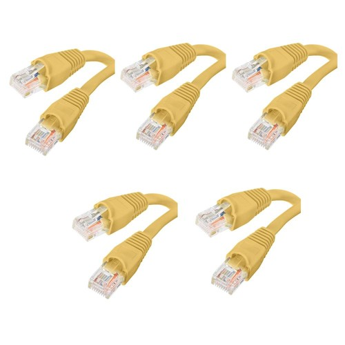 Commercial Electric 3 ft. CAT5e UTP Ethernet Cable, Yellow(5-Pack)
