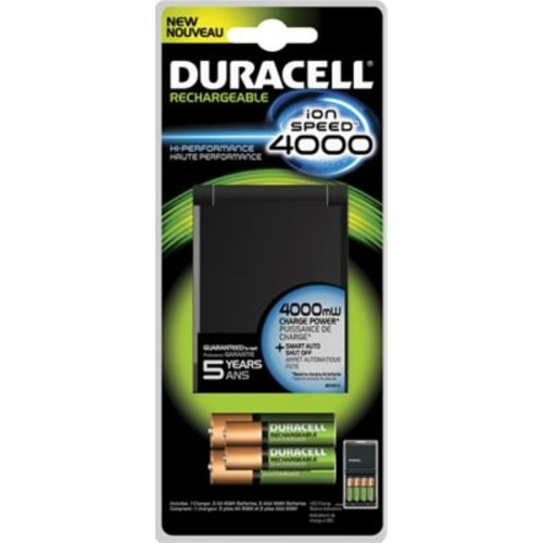 Duracell Rechargeable Ion Speed 4000 Charger, Includes two AA and AAA NiMH Batteries (CEF27)