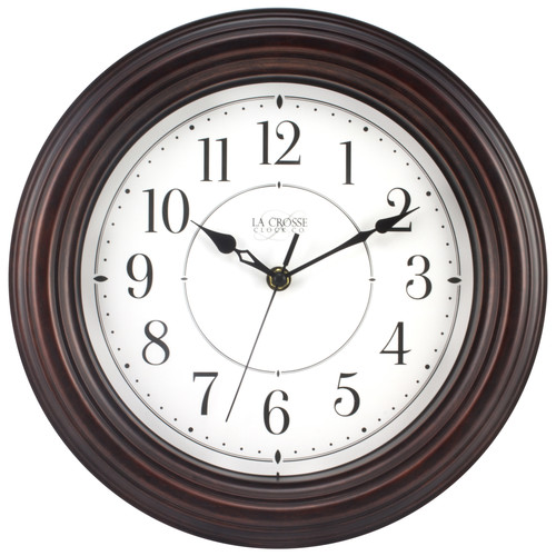 La Crosse Clock 404-2630W 12 Inch Round Brown Plastic Wall Clock with Silent Movement