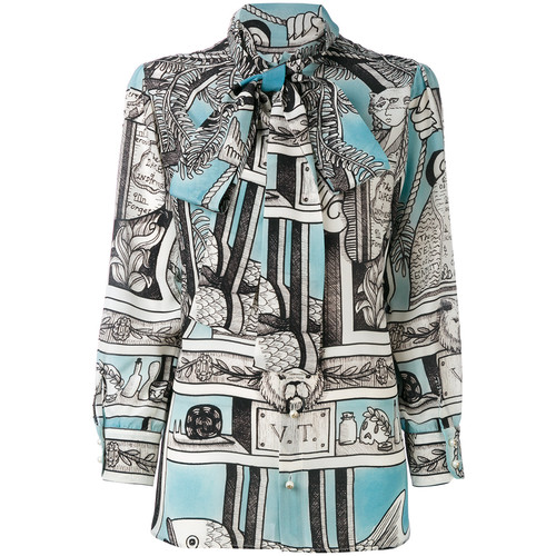 GUCCI Printed Neck Tie Blouse