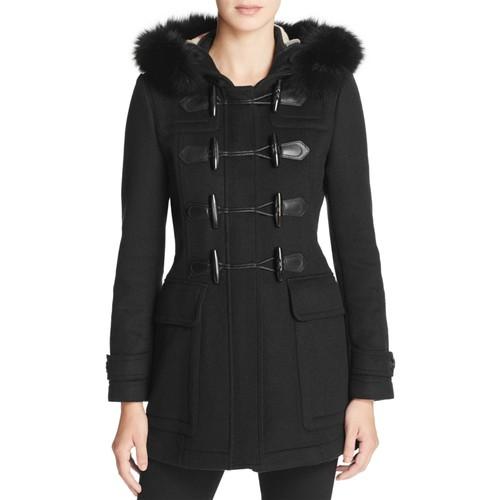 BURBERRY Blackwell Fur Trim Wool Duffle Coat