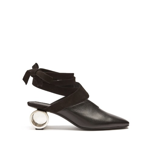 Cylinder-heel leather mules