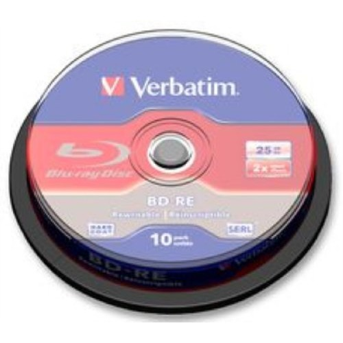 Verbatim BD-RE 25GB 2X with Branded Surface - 10pk Spindle 43694 [1-Pack]