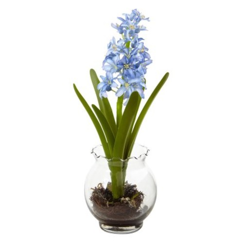 Nearly Natural Artificial Plants Hyacinth & Birds Nest w/Vase