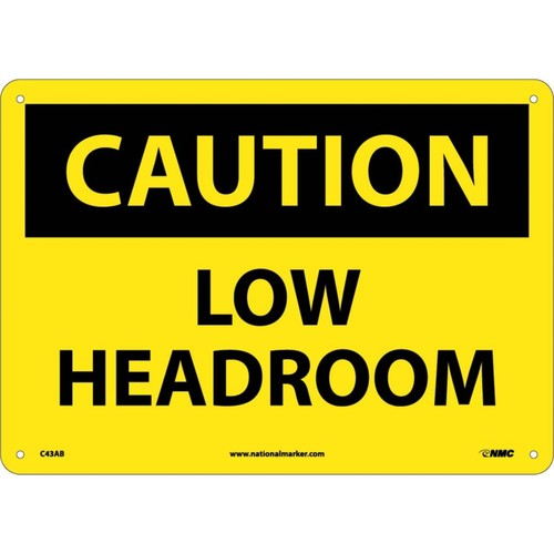 Caution Signs; Low Headroom, 10X14, .040 Aluminum