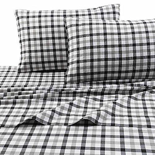 Tribeca Living Micro Plaid Flannel Sheet Set