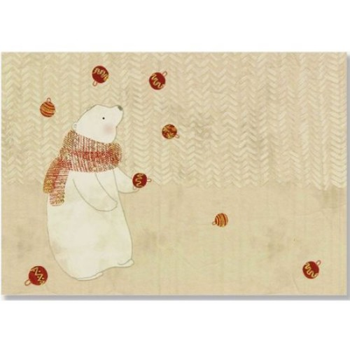 Juggling Polar Bear Small Boxed Holiday Cards