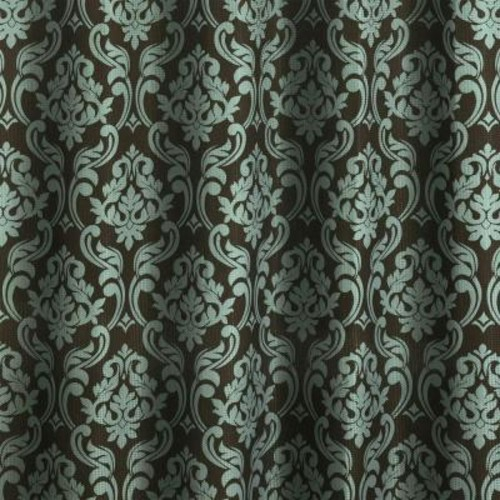 Creative Home Ideas Diamond Weave Textured 70 in. W x 72 in. L Shower Curtain with Metal Roller Rings in Chain Damask Espresso/Sky